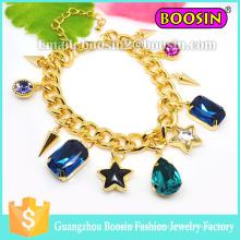 Custom Shamballa Jewelry Gemstone Charm Gold Chain Bracelet for Women
