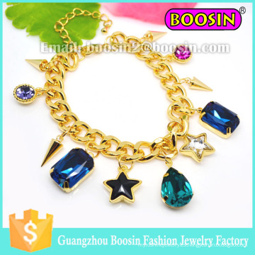 Pulsera de cadena de oro con encanto de piedras preciosas de joyería de Shamballa personalizada para mujer