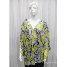 Lady Fashion Paisley imprimé en mousseline de soie Polyester printemps chemise en soie (YKY2216)