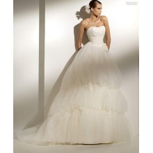 Ball Gown Scoop Neck Kapel Strapless Kereta Benang Manmade Flowers Wedding Dress