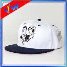 Customize Flat Embroidery White Flat Bill Cap