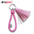 Marvel Custom Colorful Blank Pu Leather Tassel Key Chain Metal Ring Holder Keychain With Logo