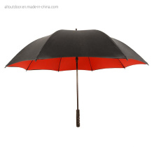 Customized Logo Print Fiberglass Straight Red Double Layer Windproof Travel Golf Umbrella