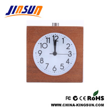 Square Shape Solid Wood Alarm Clock