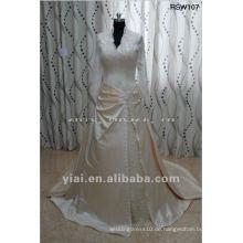 RSW107 reale Muster-Spitze-lange Hülse ein Linie Champagne-Satin-Hochzeits-Kleid