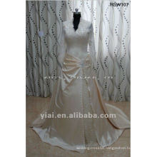 RSW107 Real Sample Lace Long Sleeve A Line Champagne Satin Wedding Dress