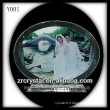 Portrait de mariage en cristal impression colorée Y001