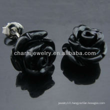 925 Silver Rhodium Plated Black Rose Stud Earring Dyed Coral Stud Earring EF-026