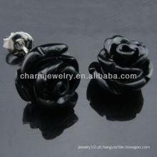 925 prata ródio banhado a preto Rose Stud Earring tingido brinco coral EF-026