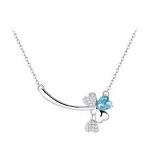 Идеальный резки синий / фиолетовый топаз клевер форме серебра кулон ожерелье