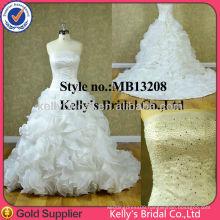New fashion organza ruffle skirt prom dress long wedding dress 2014