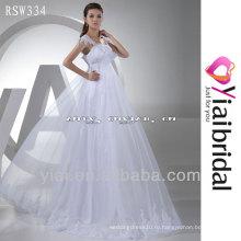 RSW334 кружева открытой спиной Cap рукавом свадебное платье