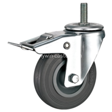 3.5 '' Threaded Stem Swivel grauer Gummi-PP-Kern mit Halterung Industrial Caster