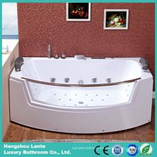 Bañera de masaje ecológica para interiores en esquina con cristal transparente (TLP-664)
