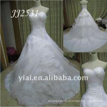 JJ2531 El más nuevo envío libre rebordeó el vestido de boda hecho a mano del vestido de bola del Organza de la flor 2011