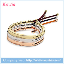 Hot new products for 2015 316l stainless steel jewelry adjustable bar beads bracelet