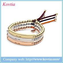 Novos produtos quentes para 2015 316l jóias de aço inoxidável ajustável pulseira grânulos de bar