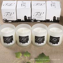 Luxus handgemachte personalisierte Liebe Glas Glas Kerze mit Private Label