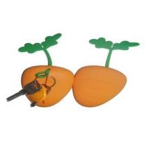 Capa e porta-chaves de silicone em formato laranja LFGB