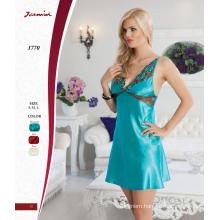 Hot Sexy Turquoise Satin Nightdress Lingerie Underwear
