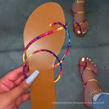 2020 new arrival summer Simple style colorful outdoor flat female flip flops flat sandals