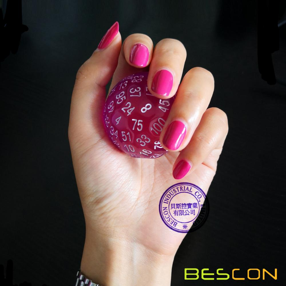 Bescon Translucent Polyhedral Dice 100 Sides Dice, Transparent D100 die, 100 Sided Cube, D100 Game Dice,100-Sided Cube of Purple