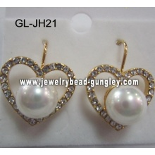 heart shape shell pearl earrings