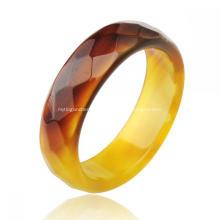 Мода натуральный 6 мм желтый агат драгоценный камень граненые женские кольца