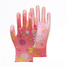 13G Floral Print Colorful PU Work Gloves