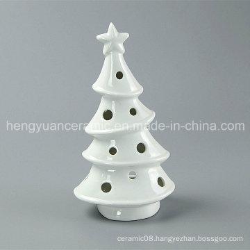 Spot Goods! White Porcelain Tree Shaped Ceramic Christmas Candle Holders