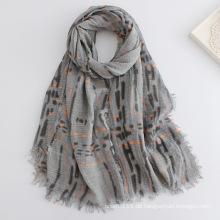 Lady Fashion überprüft gedruckten Viskose Schal (YKY1136)