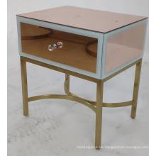 Roségold Spiegel MDF 1 Schublade Nachttisch