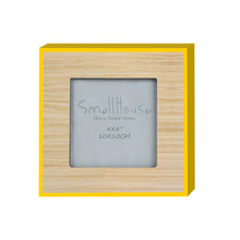 Yellow border wood photo frame