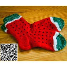 Benutzerdefinierte Hand stricken Wassermelone Womens Slipper Wolle Boden Socken Anti-Slip
