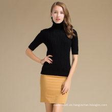 Suéteres de calidad superior del fabricante de prendas de punto Jersey de lana de cachemira con pullover negro