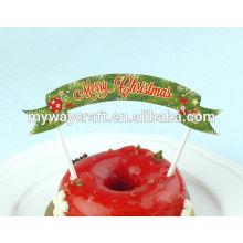 Desenhos extravagantes Feliz Natal redondo impresso floco de neve holly bauble decorado papel bolo topper para a próxima festa de natal