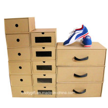 Foldable Corrugated Paper Drawer Style Shoes Boxes with Clear Window and Handle