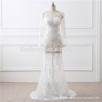 Long Sleeve See Through Sexy Mermaid Patterns Of Lace Evening Dress