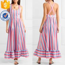 Venta caliente Vestido de verano Maxi sin mangas de rayas de algodón multicolor Venta al por mayor de prendas de vestir de las mujeres de moda (TA0304D)