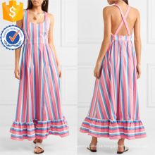 Venda quente de algodão multicolorido listrada mangas Maxi vestido de verão fabricação atacado moda feminina vestuário (TA0304D)