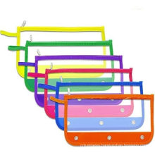 3 Ring Zipper Pulls Double Pockets PVC Pencil Case with Clear and Mesh Window Binder Pencil Pouches Case