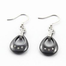 Edelstahl schwarze keramische Kreise baumeln Ohrringe für Frauen