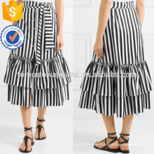 New Fashion Ruffled Black And White Striped Cotton Midi Summer Skirt Manufacture Wholesale Fashion Women Apparel (TA0050S)