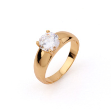 Xuping Classic 18k Gold Plated White Zircon Ring