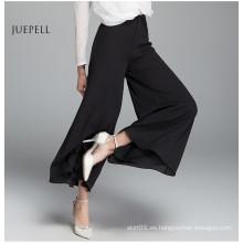 Pantalones sueltos de gasa negra casual para mujer en verano