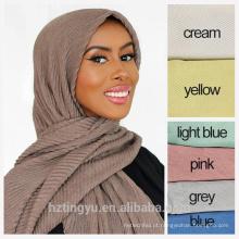Moda por atacado Novo estilo mulheres planície dubai lenço muçulmano mulheres plissado hijab de algodão plissado