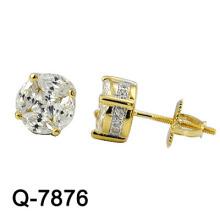 Novo estilo 925 prata esterlina Studs K chapeamento de ouro