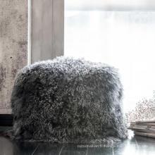 Housse de coussin de taie d'oreiller en fourrure de lapin
