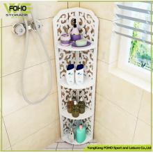 Étagère d'angle de salle de bain empilable blanche en plastique-rangement en bois