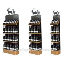 Venta al por mayor de la tienda de comestibles Bandeja de madera de bambú de 3 capas Metal el estante del sostenedor del vino rojo Estante de madera del supermercado Estantería de la góndola